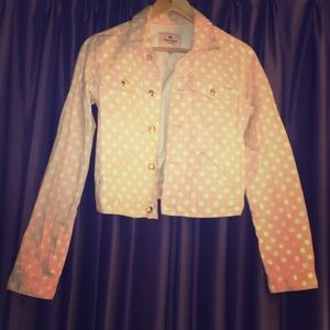Juicy Couture pink polka dot jean jacket